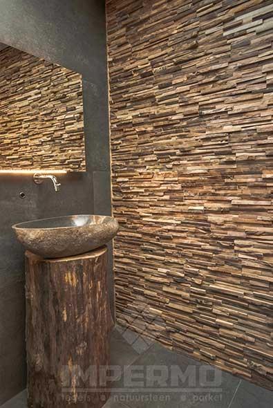 Muur Badkamer Afwerken ~   sierstrips, houten wandbekleding, hout strips, badkamer, woonkamer